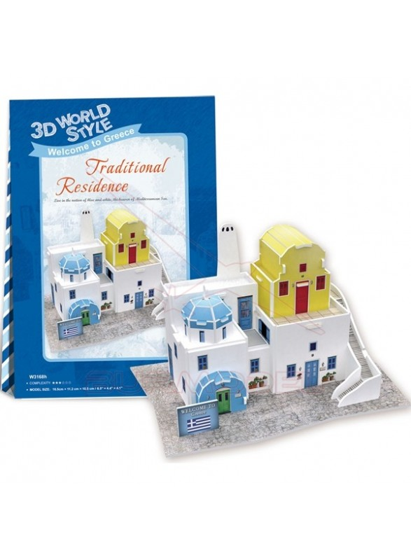 Puzzle de 3 dimensiones casa típica Griega 21 piez