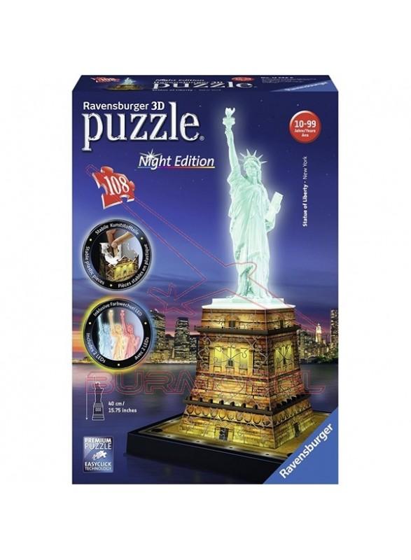 Puzzle 3D Estatua de la Libertad con luz 108 piezas