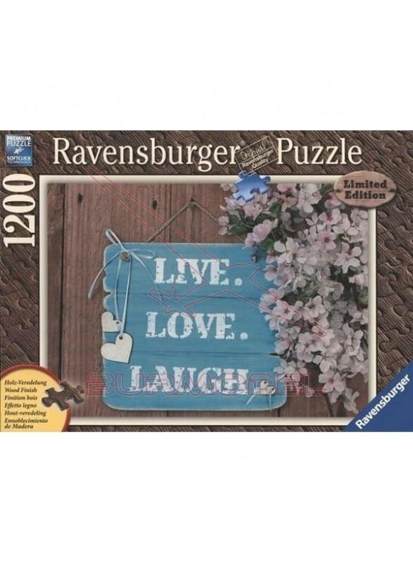 Puzzle Efecto madera Vive, ama, rie 1200 piezas