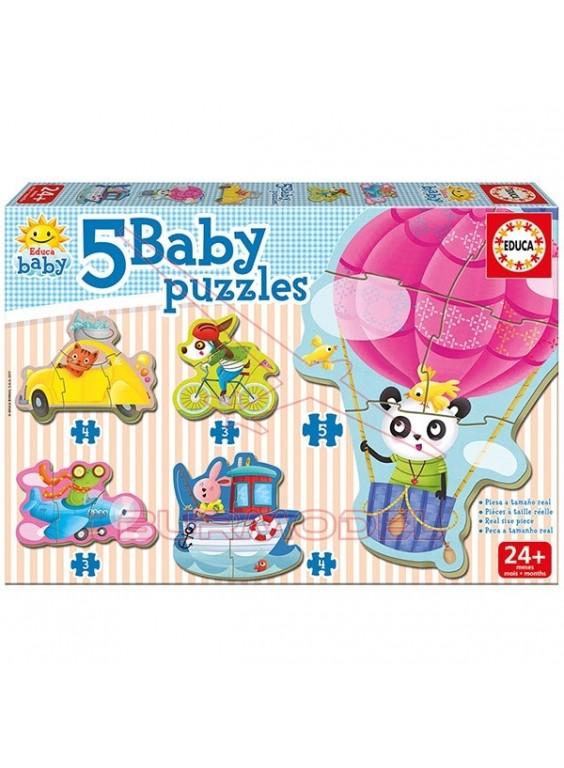 Puzzle infantil Animales al volante