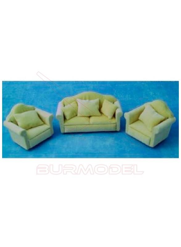Sofá dos plazas y dos sillones color beige