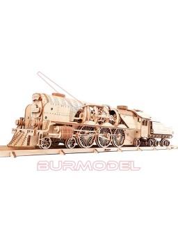 Maqueta de madera locomotora de vapor con vía