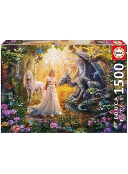 Puzzle dragón princesa y unicornio 1500 pzs