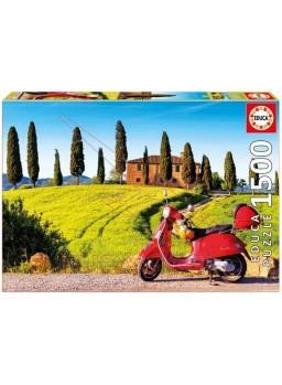 Puzzle 1500 piezas moto en la Toscana