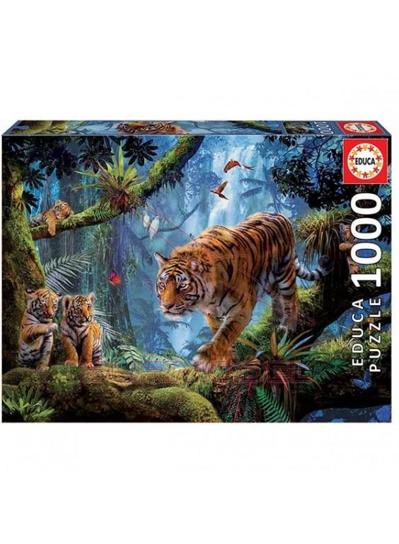 Puzzle Tigres en el árbol 1000 piezas
