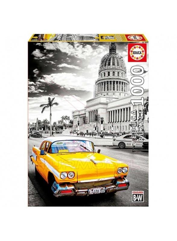 Puzzle Taxi en la Habana Blanco y negro con color