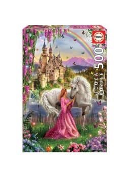 Puzzle 500 piezas Hada y unicornio.