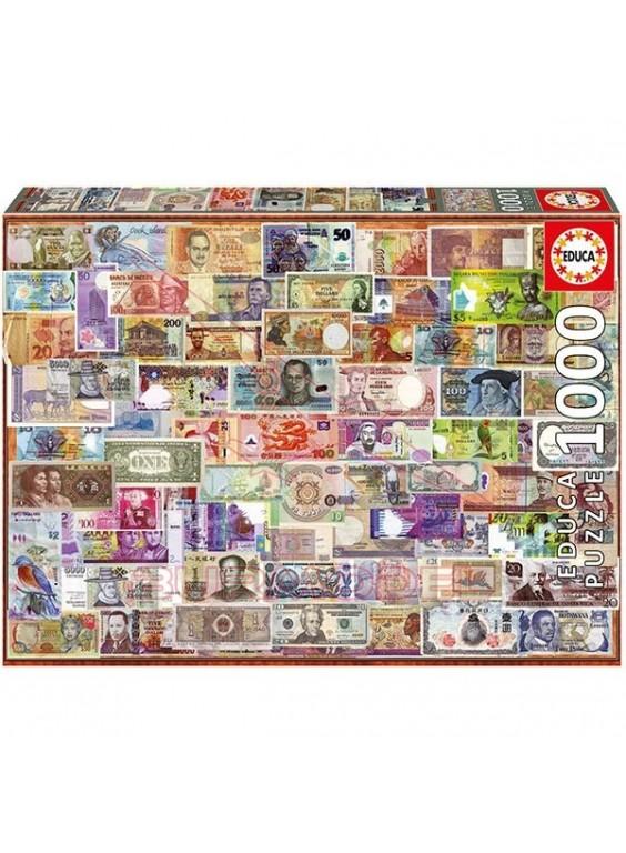 Puzzle 1000 piezas Billetes del mundo.