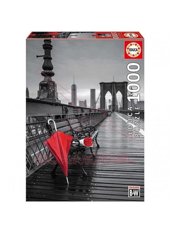 Puzzle 1000 piezas Paraguas rojo, color b&w.