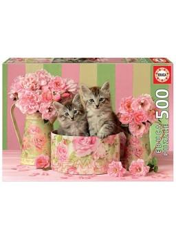 Puzzle 500 piezas Gatitos con rosas.