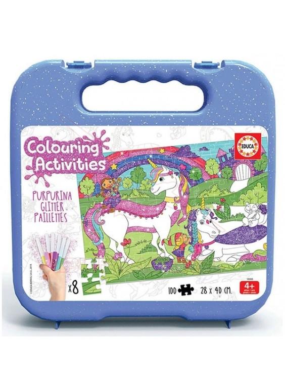 Puzzle maleta 100 piezas Unicornios con pinturas.