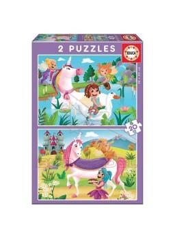 Puzzle infantil Unicornios y hadas 2x20 piezas.