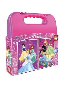 Maleta rosa puzzle 2x48 Princesas .