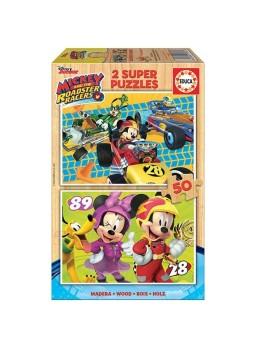 Puzzle madera Mickey y los superpilotos 2x50.
