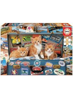 Puzzle 200 piezas Gatitos viajeros.