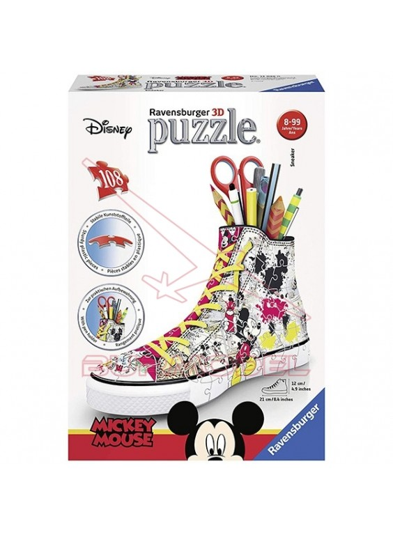 Puzzle zapatilla 3D Mickey Mouse portalápices.