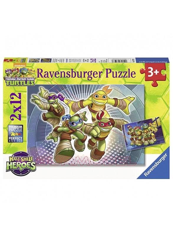 Puzzle infantil Tortugas Ninja 2x12 piezas.