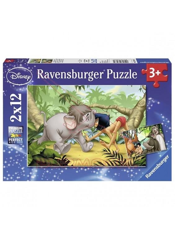Puzzle infantil El libro de la selva 2x12 piezas