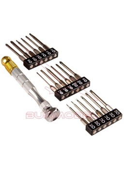 Set microdestornillador con 19 puntas de precisión