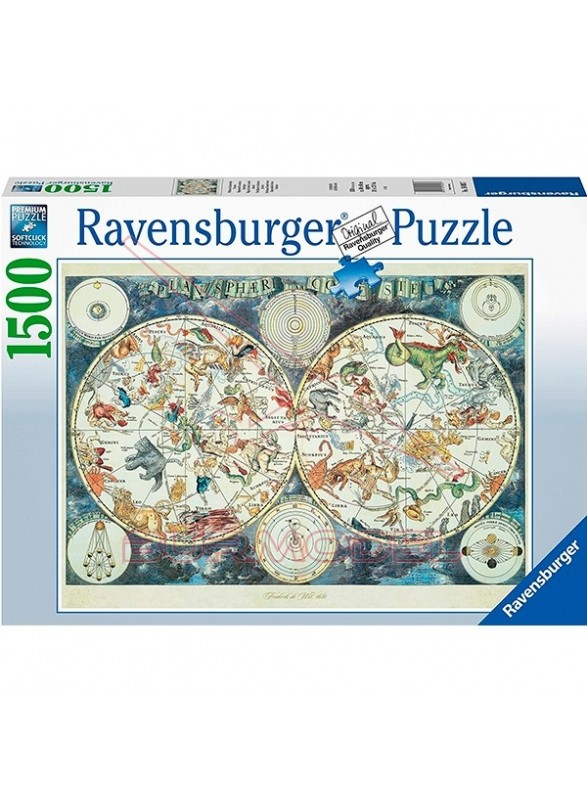 Puzzle 1500 piezas Mapamundi de bestias fantástica