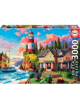 Puzzle 3000 piezas Faro cerca del oceáno