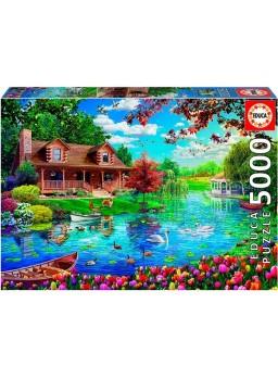 Puzzle 5000 piezas Casita en el lago