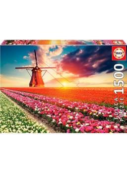 Puzzle 1500 piezas Paisaje de tulipanes