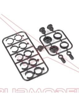 Rotulas y anillos amortiguador plastico 3.5mm