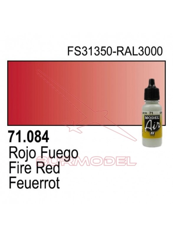 Pintura Vallejo Rojo fuego 084